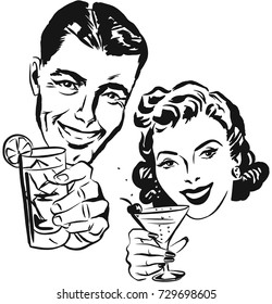 Smiling man and woman raising a toast with cocktail glasses