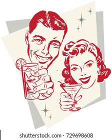 Smiling man and woman raising a toast with cocktail glasses against a 1950s background