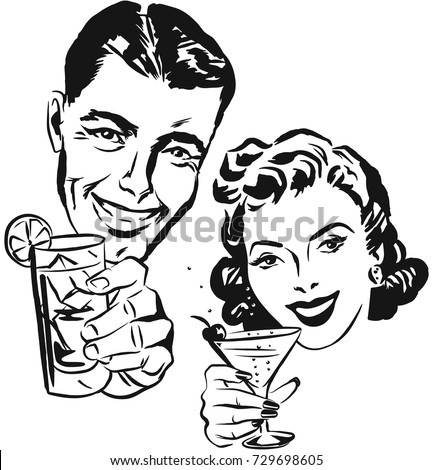 Smiling Man Woman Raising Toast Cocktail Stock Vector Royalty Free
