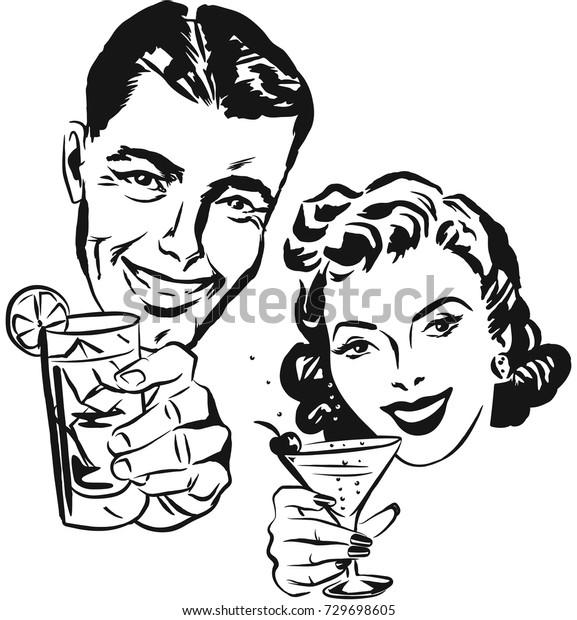 Улыбающийся мужчина и женщина поднимают тост с коктейльными бокалами