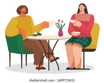 Smiling man and woman sitting on chair at table drinking cup of coffee or tea and eating dessert. Meeting of male and female in cafeteria or restaurant. Breaktime of happy couple with mug vector