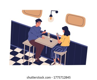 Smiling man and woman use smartphone sitting at table in cafe vector flat illustration. Happy couple surfing internet during meeting isolated. People scrolling social networks or messaging at date