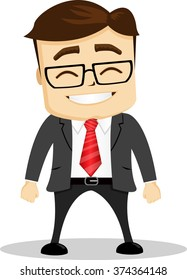 Smiling manager character