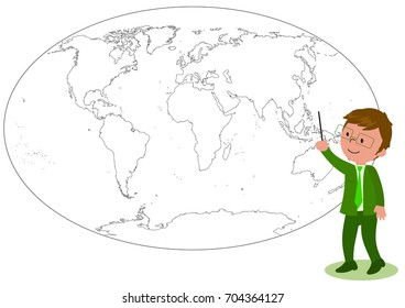 Smiling manager or teacher showing something on a black and white world map illustration