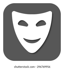 The smiling mask icon. Comedy and theater symbol. Flat Vector illustration. Button