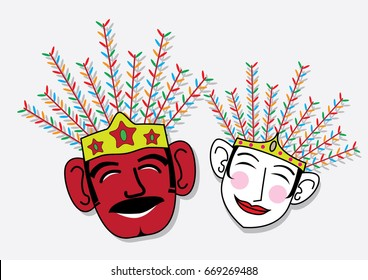 Smiling mask of Ondel-ondel's couple from Jakarta