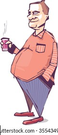 The smiling mature fat man is drinking something hot. Maybe it's a coffee. Vector illustration.