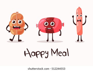 Smiling meat cartoon character. Flank meat roulade and frankfurter sausage or wurst, weenie and beef. Steakhouse or restaurant, meat market or store badge, grill shop banner. Funny nutrition theme