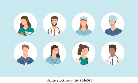 Smiling medical staff avatar isolated. Hospital icons surgeons, nurses and other medicine practitioners vector set. Different cartoon doctor face in uniform. People health care occupation