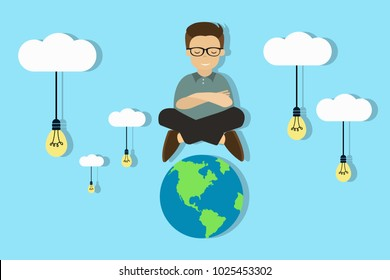 Smiling meditating man sitting in clouds with light bulbs over the Earth. Detached from the whole world while meditating concept. Searching for ideas around. Eps vector illustration