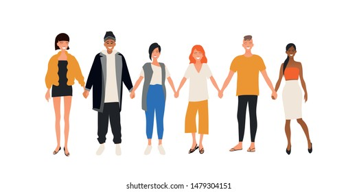 Smiling men and women holding hands. Happy people standing in row together. Happiness and friendship. Flat male and female cartoon characters isolated on white background. Colored vector illustration