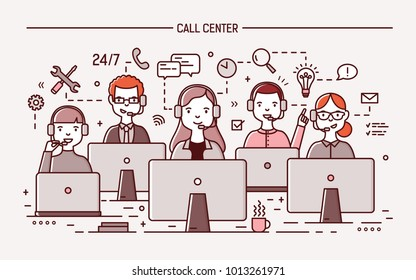 Smiling men and women wearing headphones with microphones sitting at computer displays and answering question. 24 hour call center, technical support service. Vector illustration in line art style.