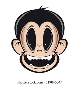 smiling monkey face vector clipart