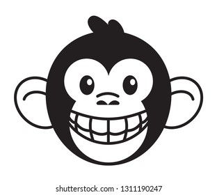 Smiling monkey head showing teeth. Black and white vector icon isolated on white.