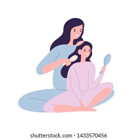 Smiling mother brushing hair of daughter with hairbrush. Cute funny mom and child in pyjamas spending time at home. Parent and kid having fun together. Flat cartoon colorful vector illustration.