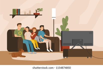 Smiling mother, father and children sitting on comfy sofa and watching television set. Happy family spending time together. Home entertainment. Colorful vector illustration in flat cartoon style