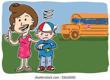 Smiling mother giving camera thumbs up standing beside grumpy son with school bus in background