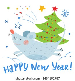 The smiling mouse runs in the snow. Hand drawn vector cute mouse. The rat is Chinese symbol 2020 year. Greeting card with christmas tree.