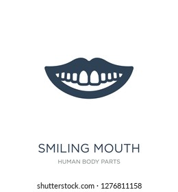 smiling mouth showing teeth icon vector on white background, smiling mouth showing teeth trendy filled icons from Human body parts collection, smiling mouth showing teeth vector illustration