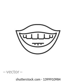 smiling mouth with teeth  icon, smile, teeth, line sign on white background - editable stroke vector illustration eps10