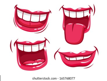 Smiling mouths collection. Vector illustration