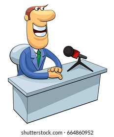 Smiling news anchor in a suit. Color cartoon