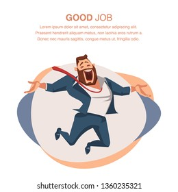 Smiling Office Worker in Suit Jump with Open Hand. Happy Businessman or Boss Express Emotion, Love his Job. Male Coworker Character Full of Enthusiasm. Cartoon Flat Vector Illustration