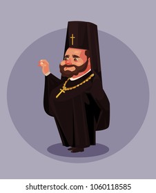 Smiling old beard orthodoxy priest pastor pope bishop dressed in black dress uniform suit. Religion concept. Vector flat cartoon isolated illustration
