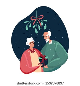 Smiling old lady and man Celebrating New Year and Xmas evening. Happy couple hug each other under mistletoe Pensioners anticipte holiday festivity rejoicing presenting a gift. Flat Vector Illustration