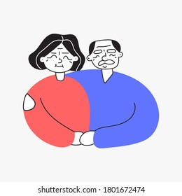 Smiling old lady and old man. Illustration on white background.