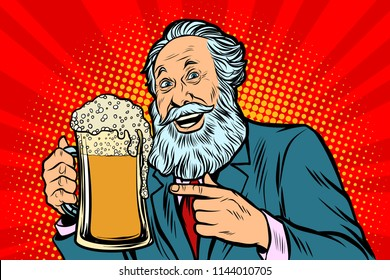 Smiling old man with a mug of beer foam. Comic cartoon pop art retro vector illustration drawing