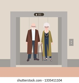 Smiling old man and woman with canes standing in elevator with open doors. Cute funny elderly couple waiting inside lift stopped on floor of building. Flat cartoon colorful vector illustration.