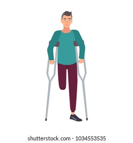 Smiling one-legged man or boy with amputated leg standing or walking with crutches. Happy male cartoon character with physical disability or impairment. Cute flat colorful vector illustration.