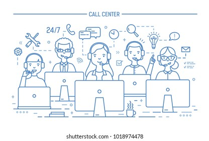 Smiling online advisors wearing headphones with microphones sitting at computer screens and answering questions. 24 hour technical support service. Monochrome vector illustration in line art style.