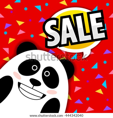 aed004537ba7 Smiling panda talk quote bubble. Sale poster. Shop sale. Cute vector panda.