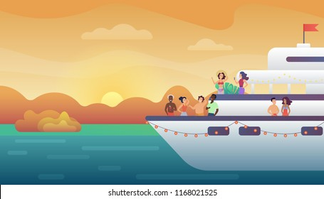 Smiling people friends making party on yacht ferry ship at sunset. Ocean vacation, sea travel and friendship concept vector illustration.