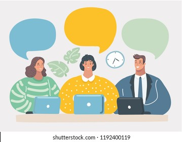 Smiling people with notebooks are discussing and brainstorming. Business team is working together. Communication with blank speech bubbles. Vector cartoon illustration in modern concept