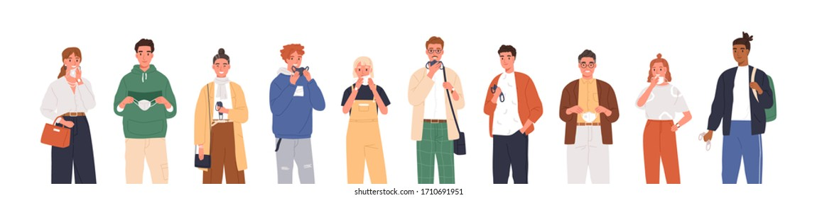 Smiling people remove face masks isolated on white background. End of coronavirus epidemic. Quarantine is over. Happy men and women taking off medical masks. Vector illustration in flat cartoon style.