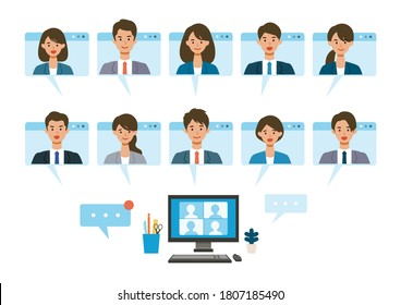 Smiling people in virtual window frames. Vector illustration of people having communication via telecommuting system. Flat design vector illustration of teleworking people.