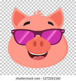 Smiling Pig Cartoon Character Face Portrait With Sunglasses. Vector Illustration Flat Design Isolated On Transparent Background