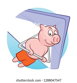 Smiling piggy flying on hang-glider. Sportsman taking part in hang gliding competitions. Pig having fun while gliding on delta-plane in the sky. Vector flat design illustration.