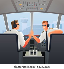 Smiling pilots in sunglasses headphones and uniform in chairs in cabin of plane at airport vector illustration