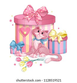 Smiling pink cat with a blue bow, beautiful boxes with gifts, asterisks and a bouquet of flowers. Vector cartoon concept illustration for drawing up an invitation for a birthday or for a greeting card
