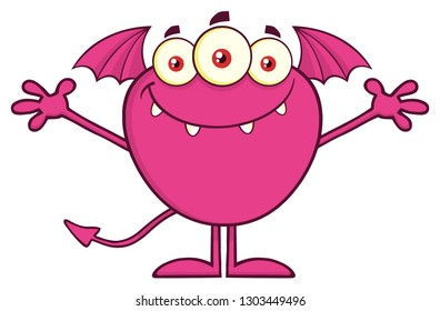 Smiling Pink Monster Cartoon Mascot Character With Open Arms. Vector Illustration Isolated On Transparent Background