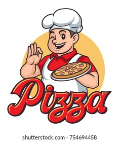 Smiling pizza chef cartoon caracter mascot very nice for logo character
