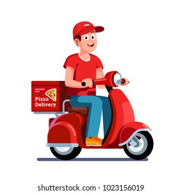 Smiling pizza delivery courier boy delivering pizza on retro scooter with trunk case box. Delivery man riding on motor moped. Flat vector character illustration isolated on white background.