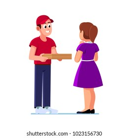 Smiling pizza delivery courier boy giving cardboard pizza to a excited client woman. Pizzaman guy wearing uniform cap delivering box. Flat vector character illustration isolated on white background.