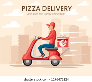 Smiling pizza delivery courier. Food courier on red retro scooter with trunk case box. Pizza delivery. Cartoon character design. Flat vector illustration on city landscape background.