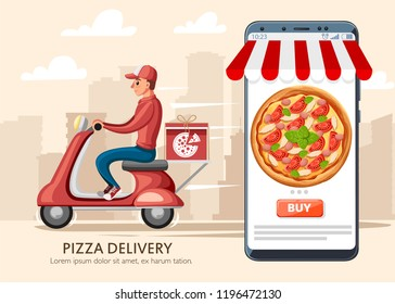 Smiling pizza delivery courier and smartphone with app. Food courier on red retro scooter with trunk case box. . Cartoon character design. Flat vector illustration on city landscape background.