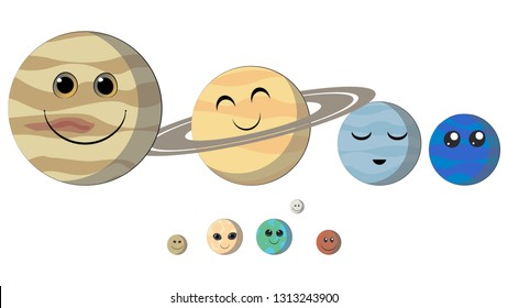 Smiling planets of the Solar System. Planets with faces funny characters: Mercury, Venus, Earth, Mars, Jupiter, Saturn, Uranus, Neptune